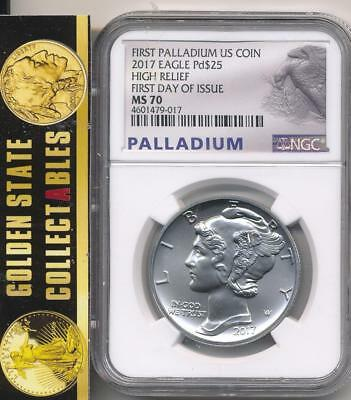 2017 $25 High Relief Palladium Eagle Ngc Ms70 First Day Of Issue 1/15K Minted