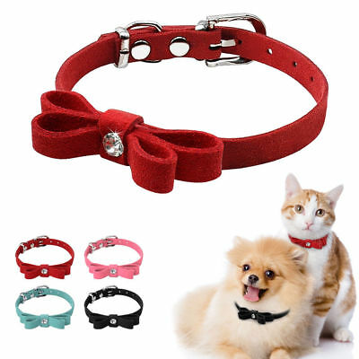 Bowknot Suede Small Dog Cat Kitten Collars Extra Soft for Puppy Pet Chihuahua