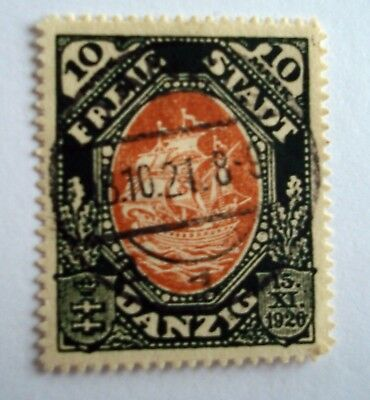 Germany / Danzig 1921 'Costitution of 1920' 10 Mark stamp, Chestnut and green