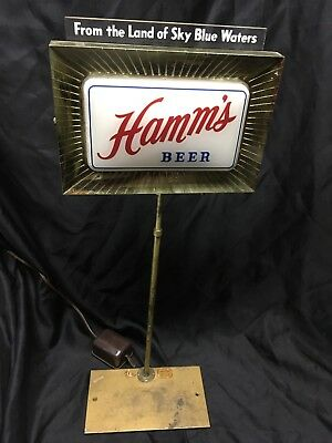 Vintage Hamm's Beer Lighted Sign Back Bar Stand Price Brothers 2 Sided Display