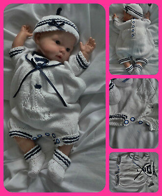 reborn specialist handknitted baby outfits - Sunday best nautical theme