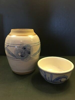 Vintage Chinese Ginger Jar With Lid Hand Painted Signed With Maker Mark