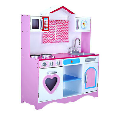 Large Girls Pink Wooden Play Kids Kitchen Childrens Pretend Role Play Toy New UK