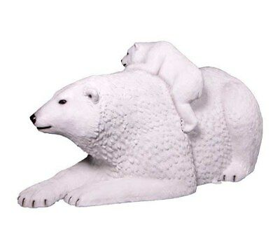 Polar Bear With Cub Playing Life Size Resin Statue Winter Wonderland Theme Decor