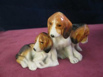 Royal Worcester 3 Seated Fox Hound Puppies    RW  3132  Doris Lindner Sadly AF