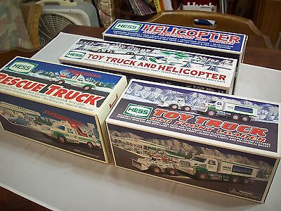 Hess Diecast Toy/Vehicle1 Lot (4):1994RescueTruck,2001 Helicopter/CycleCruiser,