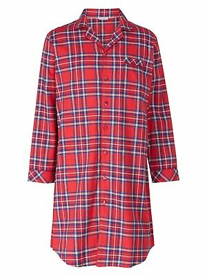 Men's Walker Reid Button Through Nightshirt. 100% Cotton, Premium Quality Tartan