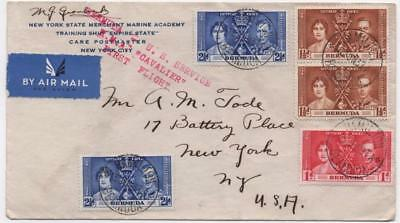 BERMUDA: 1937 Examples on First Flight Airmail Cover to USA - Hamilton (11632)