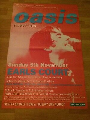 Oasis Promo Poster Earls Court Original Vintage From 1995