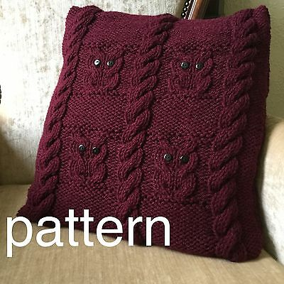Owls and cables cushion cover knitting pattern