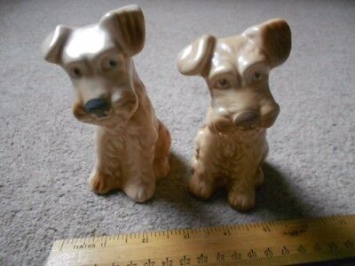 Sylvac Dogs Pair Of Sitting Terriers #1378 1940S Matt Beige Glaze