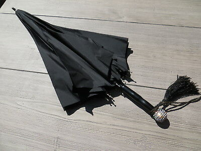 Vintage Polan Katz Black Nylon Parasol Umbrella Rhinestone Handle Wedding Goth