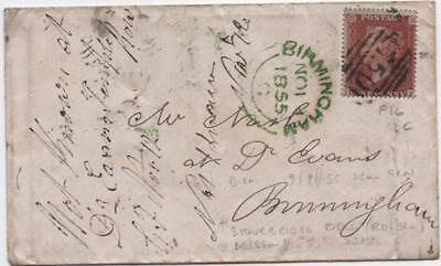 GB: 1855 1d Red Example on Cover to Birmingham - Green Cancel, Numeral (11132)
