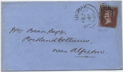 GB: 1857 1d Red Example on Cover to Alfreton, Nottingham/Alfreton Cancel (11131)