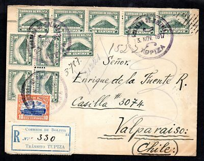 Bolivia - 1917 Registered Cover to Chile