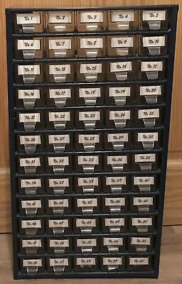 Home Storage: Retro Steel Industrial Cabinet With 60 Clear Plastic Drawers