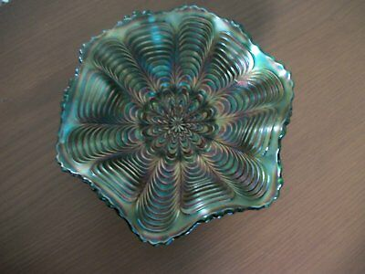 Vintage Carnival Glass Bowl / Dish Iridescent Greens And Blues
