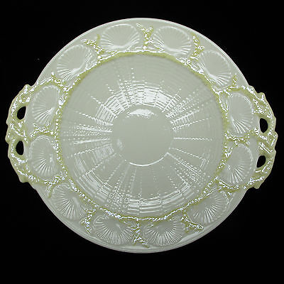 Belleek New Shell Yellow Pattern Serving Plate W/Handles 3rd Green Mark XLNT