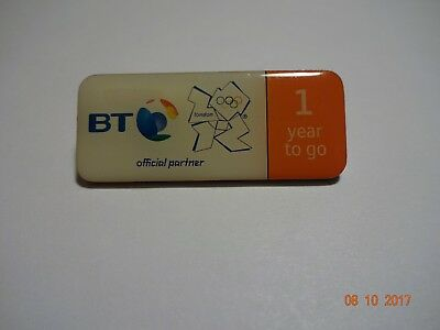"London 2012 Olympics Pin Badge - BT Official Sponsor, ""1 Year to Go"" Pin"