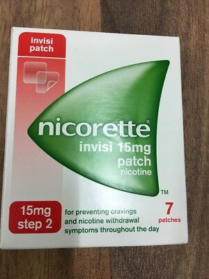 NICORETTE INVISI 15mg patch box of 7 Patches step 2 use by date 06/2019