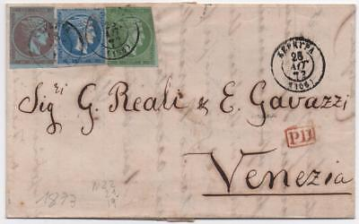 GREECE: 1873 Examples on Entire to Venezia - with Multiple Cancels (10970)
