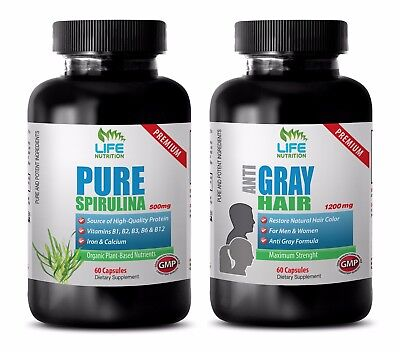 energy focus pills - SPIRULINA – GRAY HAIR COMBO 2B - saw palmetto berries organ