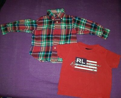 Baby boys Ralph Lauren checked shirt and T-shirt bundle size 9 months