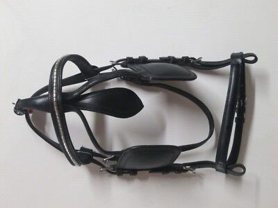 Quality Leather driving bridle with stunning white metal fittings