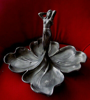 Antique Original  Pewter Wmf Maiden Sweet Of Fruit Dish Art Nouveau 1906