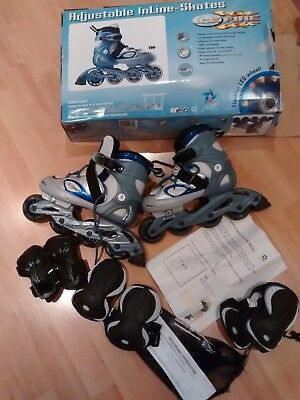 Childrens' Adjustable Inline Skates/Roller Blades - Elbow+Knee pads included