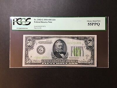 """$50 1934 Federal Reserve Note """"LIGHT GREEN SEAL"""" PCGS Choice About New 55 PPQ"""