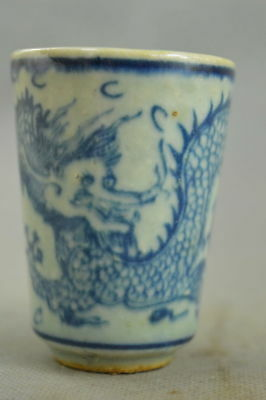 Chinese Collectable Handwork Old Porcelain Paint Vivid Dragon Exorcism Evil Cup