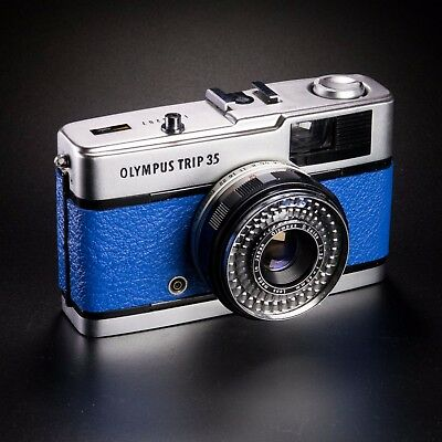 Vintage Olympus Trip35 / Blue Leather / LightBurn Film Camera / Street Camera
