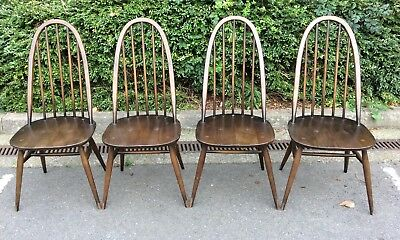 Four Vintage Mid Century Ercol Quaker Windsor Dining Chairs