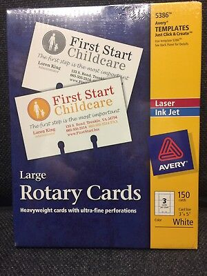 Avery 5386 Laser/Inkjet Large Rotary Cards 3 x 5,3 Cards/Sheet,150 Cards ( 3 )