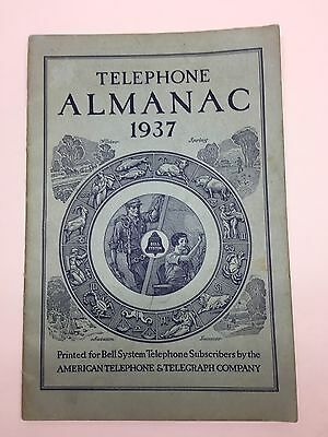 Telephone Almanac 1937 Printed For Bell System
