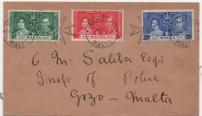 MALTA: 1937 Examples on Cover to Malta - Valletta and Victoria Cancels (11666)