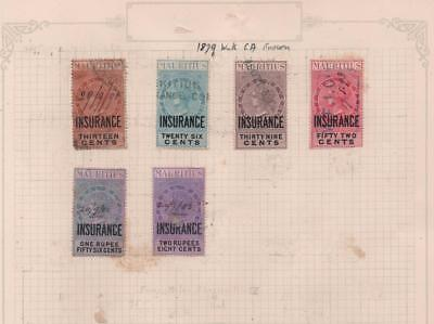 MAURITIUS: 1879 Revenue Examples - Ex-Old Time Collection - Part Page (11566)