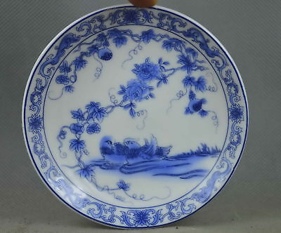 China Collectable Handwork Porcelain Paint Mandarin Duck & Flower Noble Plates