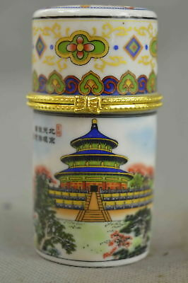 Chinese Collectable Handwork Porcelain Painting Beijing Scenery Toothpick Box