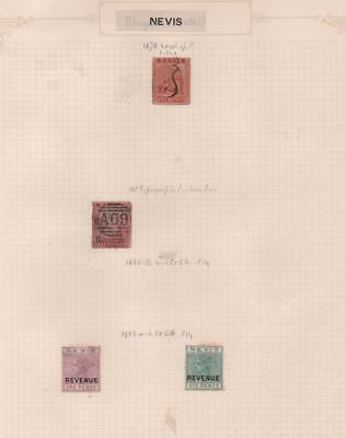 NEVIS: 1878-82 Revenue Examples - Ex-Old Time Collection - Album Page (11562)