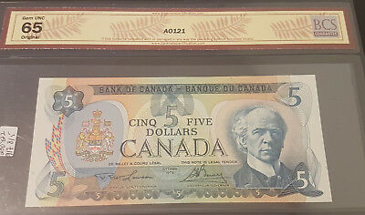 1979 GEM UNC65 $5 note graded by BCS