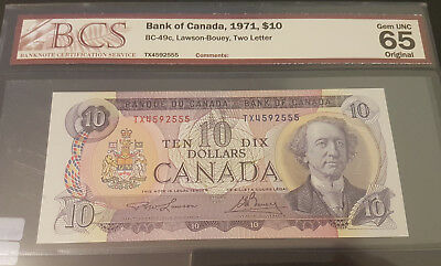 1971 GEM UNC65 $10 note graded by BCS