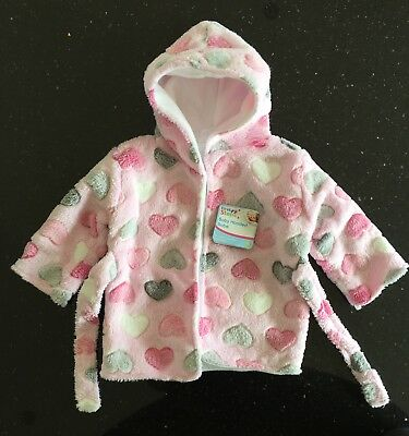 NEW Hooded Fleece Baby Girls Bath Robe/Dressing Gown, Pink, Hearts, One Size