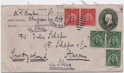 PHILIPPINE ISLANDS: 1913 Examples on Cover to Aarau - Zambales Cancel (11658)