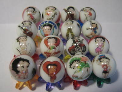BETTY BOOP 5/8 size glass marbles lot collection + STANDS