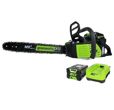GreenWorks Pro GCS80421 80V 18-Inch Cordless Chainsaw Battery+ Charger Included