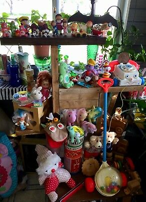 Mixed Lot Of Vtg 80's Toys Pony's Care Bears Wooden Banks Tinker Furskins
