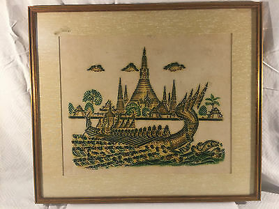 Vintage Asia Thai Rubbing Temple Painting Long Tail Boat