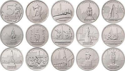 Russia 5 rubles the Capital city of the liberated States 14 coins 2016 UNC WWII